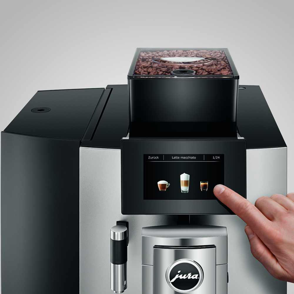 JURA X10 Bean to cup coffee machine touchscreen close up