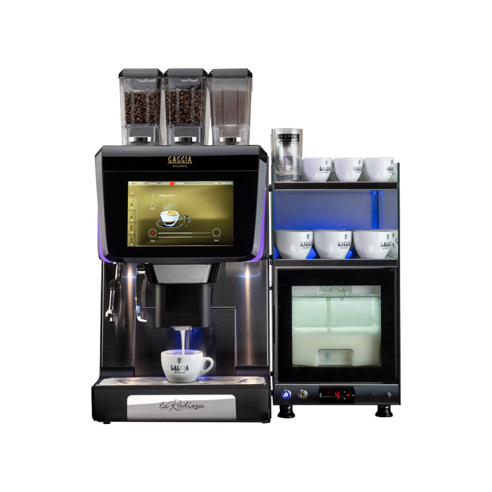 Gaggia La Radiosa Bean to Cup Coffee Machine with milk fridge and cup warmer