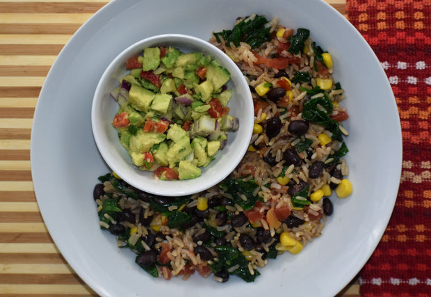 Black Bean & Corn Buddha Bowl - Brown Rice, Corn, Baby Spinach, Black Beans, Tomatoes & Avocado Salsa
