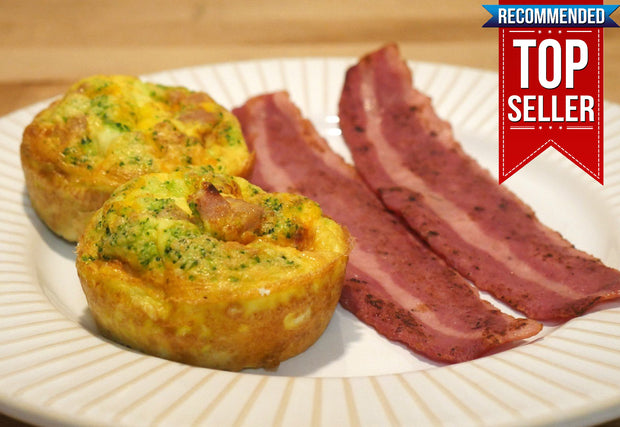 BREAKFAST - Broccoli, Ham and Cheese Frittata with Turkey Bacon