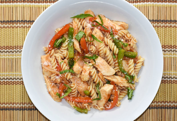 Chicken Cacciatore with Brown Rice Rotini Pasta, Red Peppers, Green Peppers & Yellow Onions