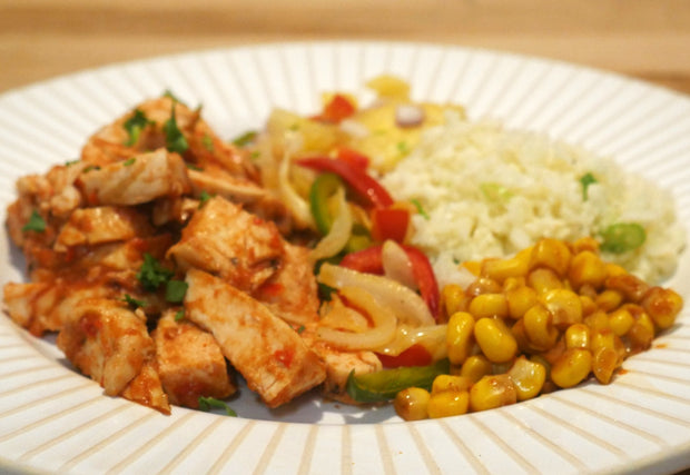Chicken Fajitas With Cauliflower Rice, Paprika Corn and Pineapple Salsa