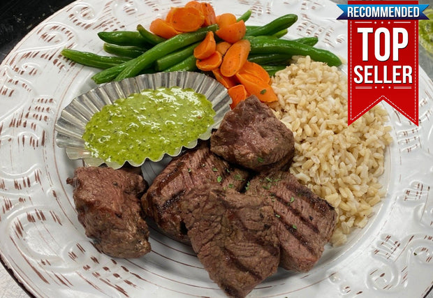 Chimichurri Grilled Steak Tips with Brown Rice, Green Beans & Carrots