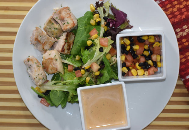 Chipotle Ranch Chicken Salad with Black Bean and Corn Salsa Salad