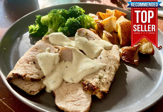 Creamy Dijon Mustard Pork Tenderloin, Roasted Potato and Broccoli