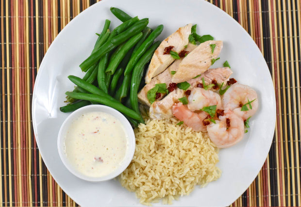 Creamy Tuscan Chicken and Shrimp With Green Beans & Brown Rice