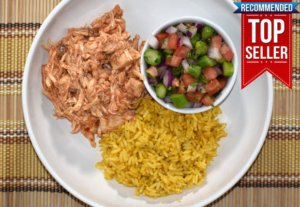 Enchilada Pulled Chicken and Yellow Rice with Asparagus, Red Onion, Red and Green Pepper Salsa