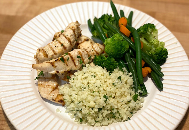 FP360 Grilled Chicken Strips with Cauliflower Rice, Green Beans, Broccoli & Carrots