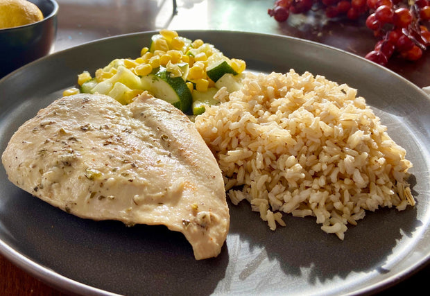 Greek Chicken, Rice Pilaf, Zucchini and Corn