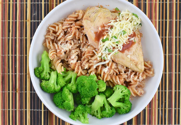 Grilled Chicken Parmesan with Brown Rice Rotini Pasta and Broccoli