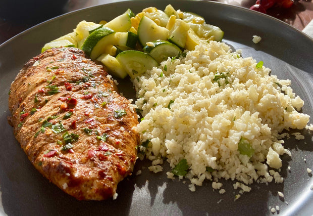 Grilled Jamaican Jerk Chicken with Cauliflower Rice, Zucchini & Summer Squash