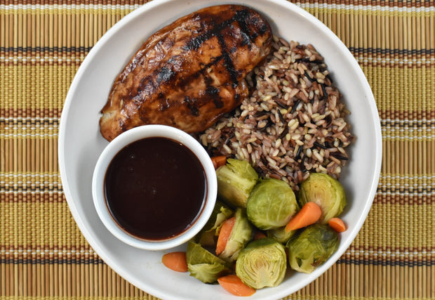 Grilled Sweet Chicken, Wild Rice, Brussels Sprouts and Carrots