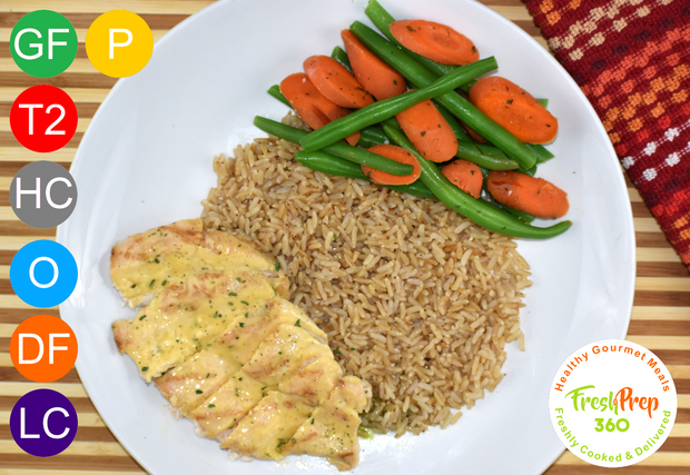 Honey Mustard Chicken with Brown Rice, Green Beans & Carrots