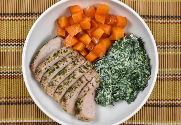 Italian Style Pork, Butternut Squash, and Creamed Spinach