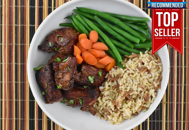 Jack Daniels Marinated Steak Tips With Carrots, Green Beans and Rice Pilaf