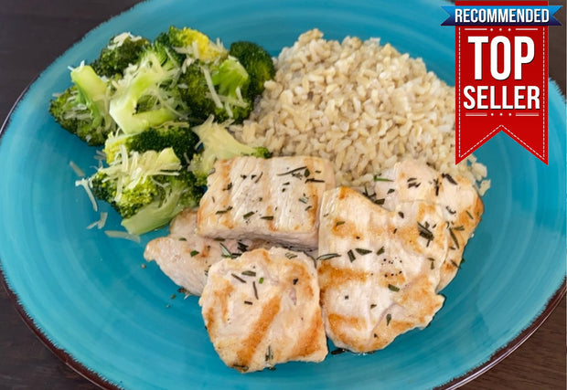 Lemon-Rosemary Grilled Turkey Tips, Rice Pilaf and Parmesan Broccoli