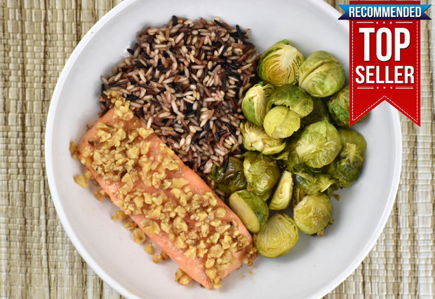 Maple–Walnut Crusted Salmon, Wild Rice and Brussels Sprouts