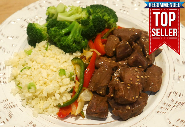 Mongolian Beef Bowl With Cauliflower Rice, Broccoli, Red & Green Bell Peppers, Yellow & Green Onion