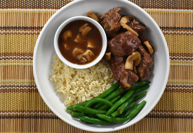Mushroom Marsala Steak Tips with Brown Rice and Green Beans