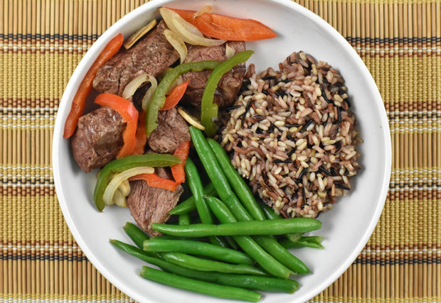 """O.P.M."" Grilled Steak Tips, Wild Rice, and Green Beans"