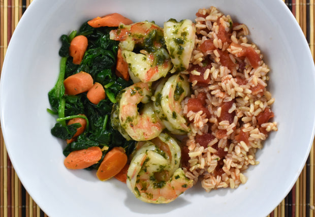 Pesto Shrimp, Tomato Rice, Baby Spinach and Carrots