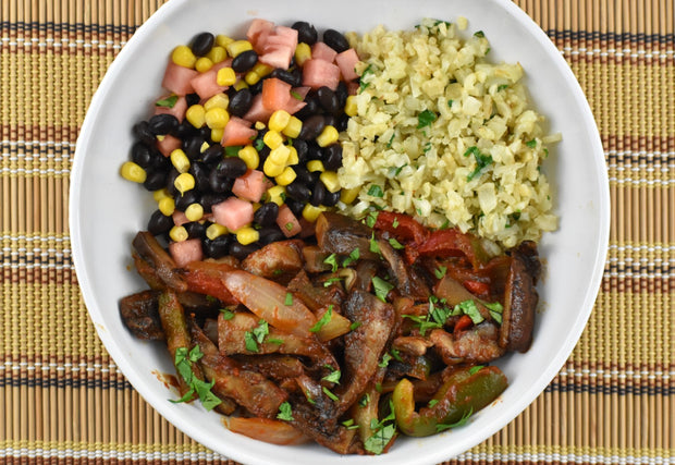 Portabella Mushroom Fajita Bowl With Cauliflower Rice