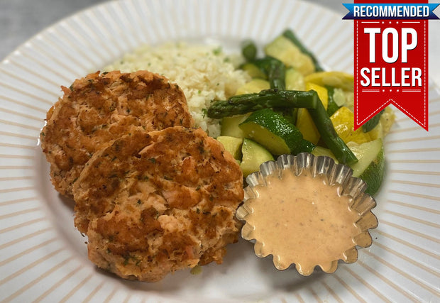 Salmon Cakes with Chipotle Aioli, Cauliflower Rice, Summer Squash, Zucchini and Asparagus