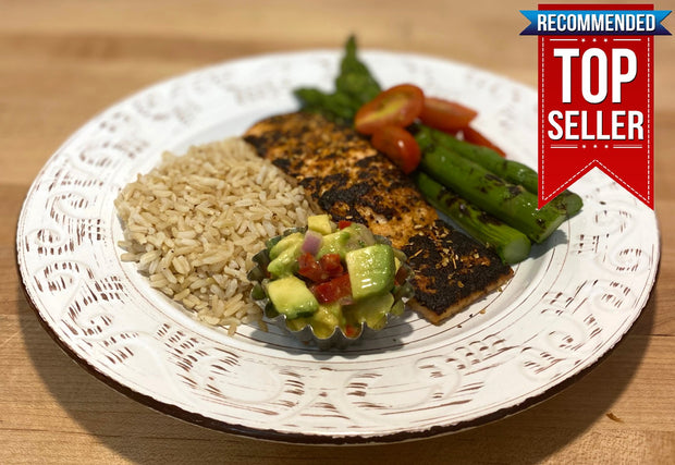 Seared Cajun Lime Salmon with Grilled Asparagus, Brown Rice, Roasted Grape Tomatoes & Avocado Salsa