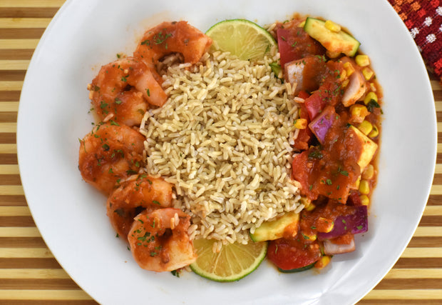 Spicy Shrimp Diablo with Brown Rice, Zucchini, Red Peppers & Corn