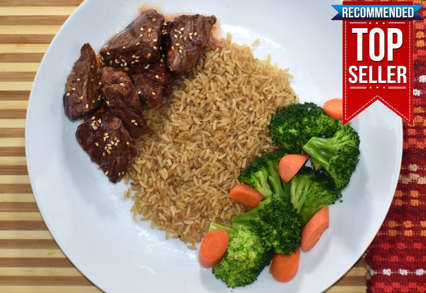 Sweet Chili Grilled Steak Tips with Brown Rice, Broccoli & Carrots