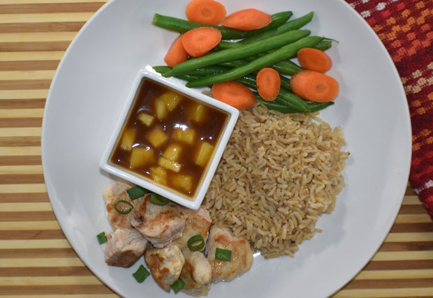 Sweet and Sour Chicken with Brown Rice, Green Beans & Carrots