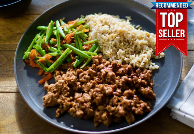 Sweet and Spicy Ground Turkey Bowl, Brown Rice, Sugar Snap Peas and Carrots