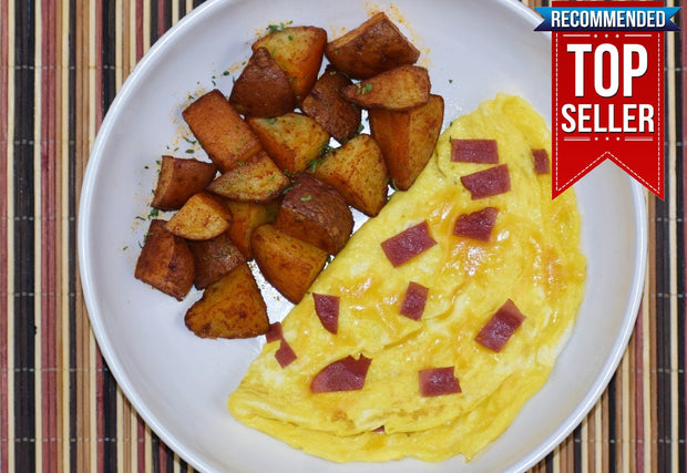 BREAKFAST - Turkey Bacon and Cheese Omelet with Home Fries