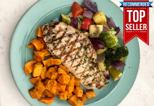 Italian Chicken with Sweet Potatoes, Zucchini, Summer Squash, Broccoli & Red Bell Peppers