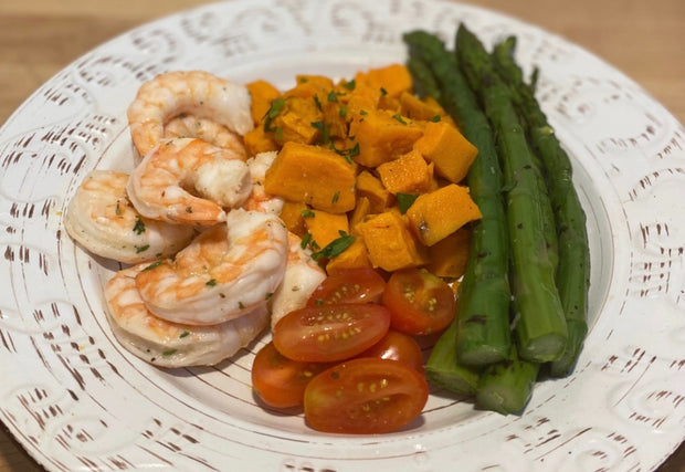 Seared Shrimp with Sweet Potato, Asparagus & Tomatoes