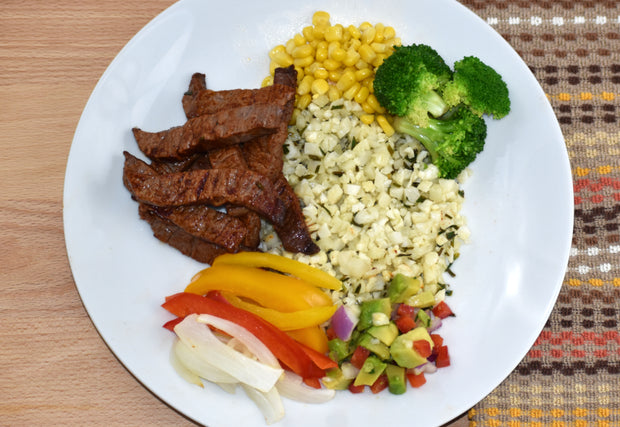 Steak Fajita with Garlic Lime Cauliflower Rice, Corn, Avocado Salsa, Red & Green Bell Peppers
