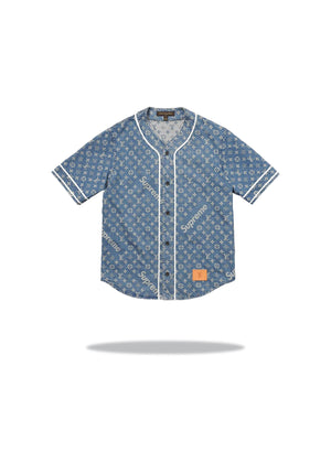 Louis Vuitton x Supreme Blue Baseball Jersey