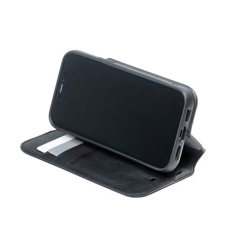 Black Leather Phone Flip Wallet iPhone 12 Pro Max mini