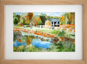 Barn by Pond - Sold