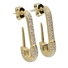Pavé Safety Pin Earrings - Happy Go Zoe Jewelry