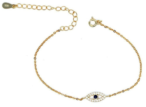 925 Dainty Evil Eye Charm Bracelet - Happy Go Zoe Jewelry