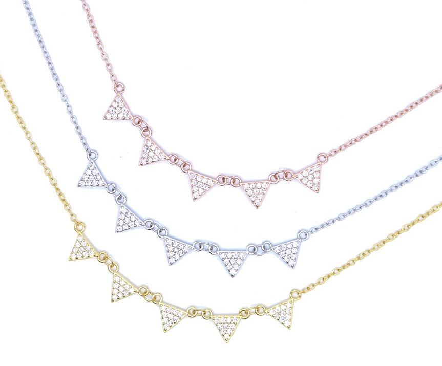 925 Pavé Triangles Necklace - Happy Go Zoe Jewelry