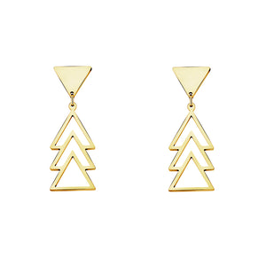 Deco Gold Pyramid Drop Earrings - Happy Go Zoe Jewelry