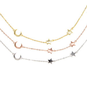925 Simple Moon and Star Charm Necklace - Happy Go Zoe Jewelry