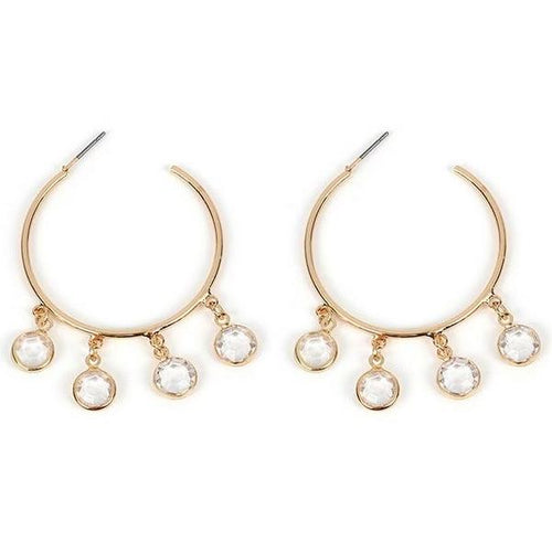 Eden Crystal Charm Hoop Earrings - Happy Go Zoe Jewelry