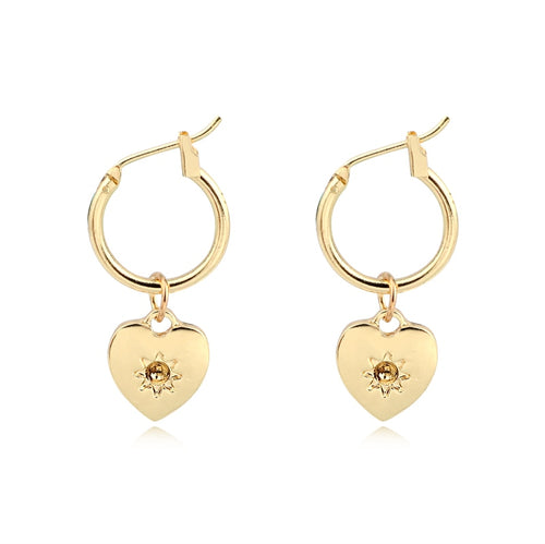 Simple Gold Heart Charm Hoops - Happy Go Zoe Jewelry