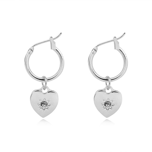 Simple Silver Heart Charm Hoops - Happy Go Zoe Jewelry