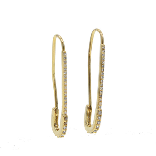 Dainty Pavé Safety Pin Earrings - Happy Go Zoe Jewelry