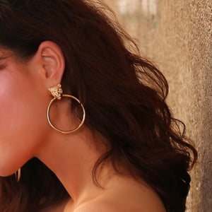 Gold Lion Head Statement Hoop Earrings - Happy Go Zoe Jewelry