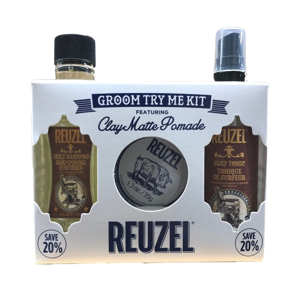 Reuzel Groom Try Me Kit - Clay Matte Pomade - Haarstylingset